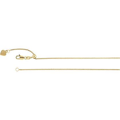 "14K Yellow Gold 1mm Adjustable Wheat 22"" Chain"