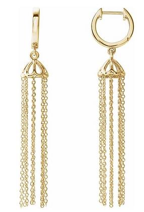14K Yellow Gold 53.2 mm Hinged Hoop Chain Earrings