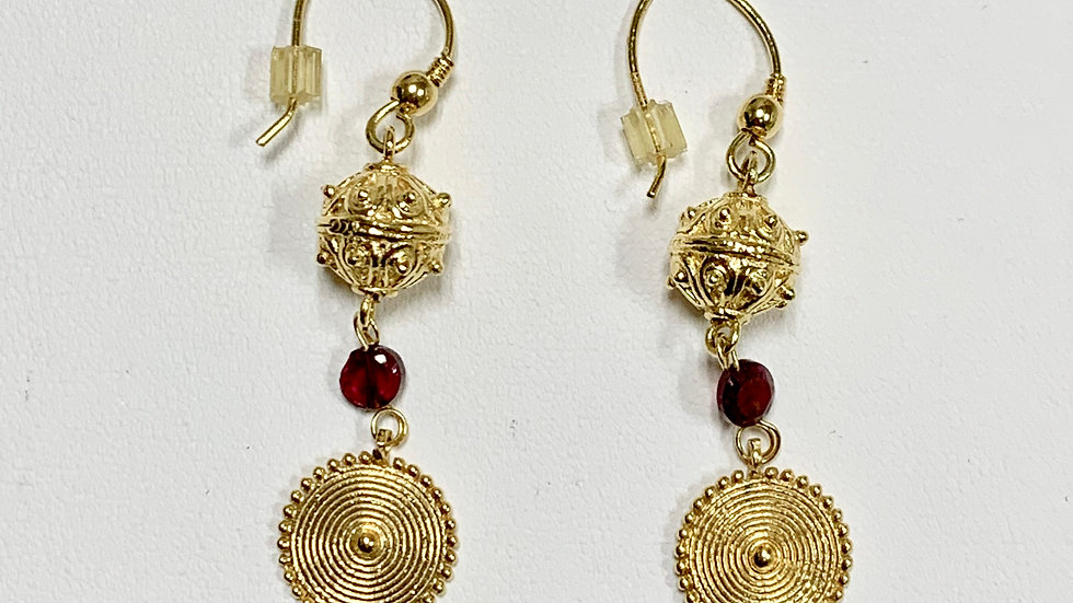 Yellow Gold & Garnet Dangle Earrings