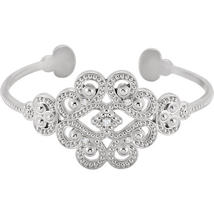 "Sterling Silver Granulated 1/6 CTW Diamond 7"" Cuff Bracelet"