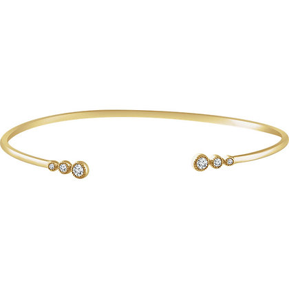 "14K Yellow Gold 1/4 CTW Graduated Diamond Bangle 7"" Bracelet"