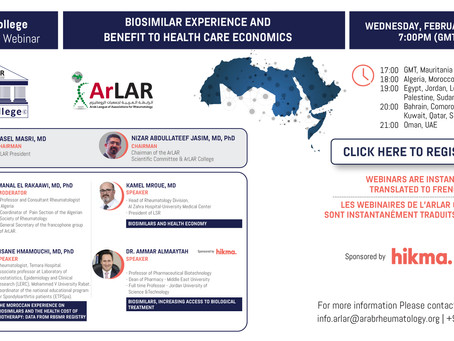 ArLAR College BIOSIMILAR EXPERIENCE AND BENEFIT TO HEALTH CARE ECONOMICS Webinar