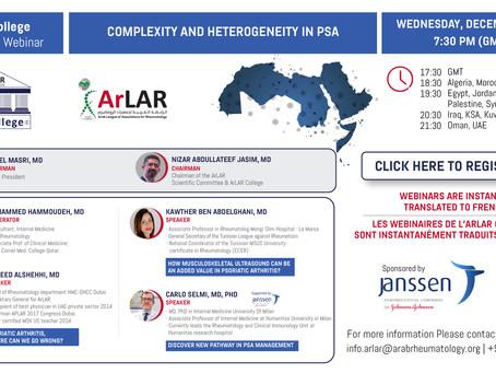 """ArLAR's College """"Complexity and Heterogeneity in PsA"""""""