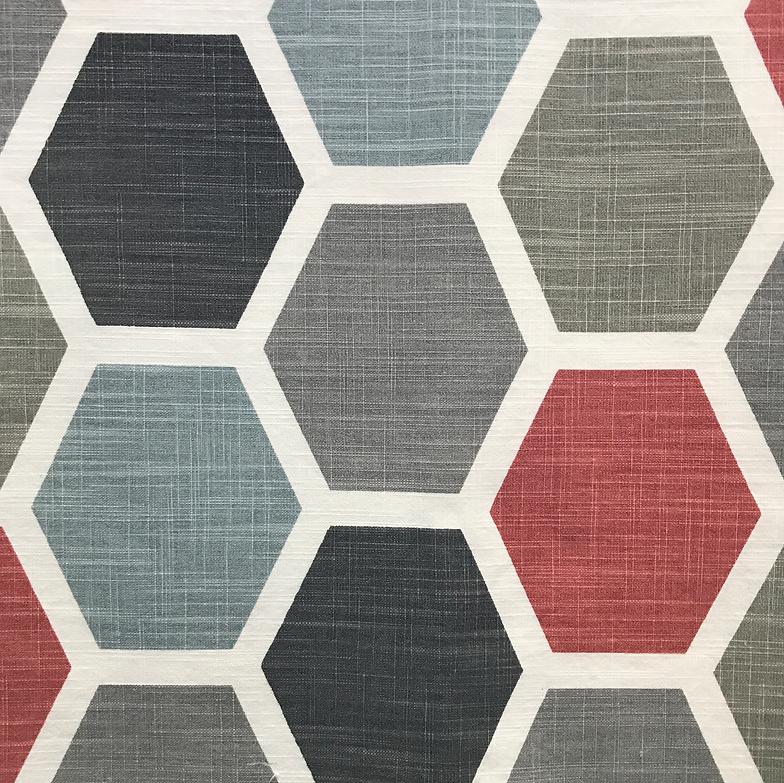Hexagon Scarlet (100% Cotton)