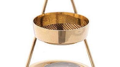 Incense burner in glossy golden brass 10 cm