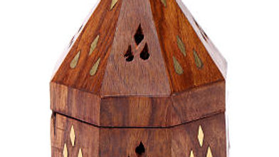 Indian incense burner in wood with metal burner