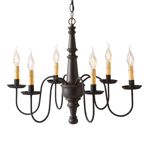 6-Arm Harrison Wood Chandelier in Choice of Finish