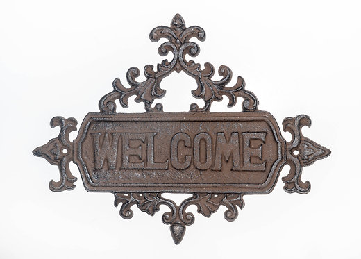 Cat Iron Welcome Sign  LG