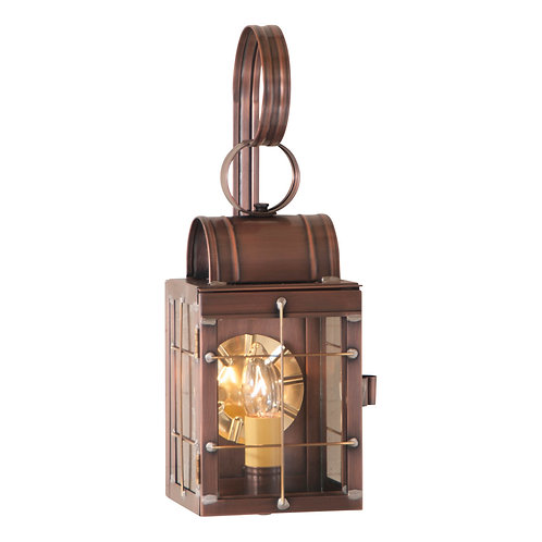 Single Wall Lantern in Weathered Brass or Copper