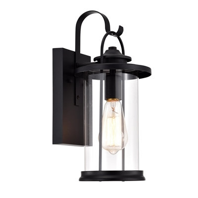 """Transitional 1 Light Textured Black Outdoor Wall Sconce 15"""" Height"""