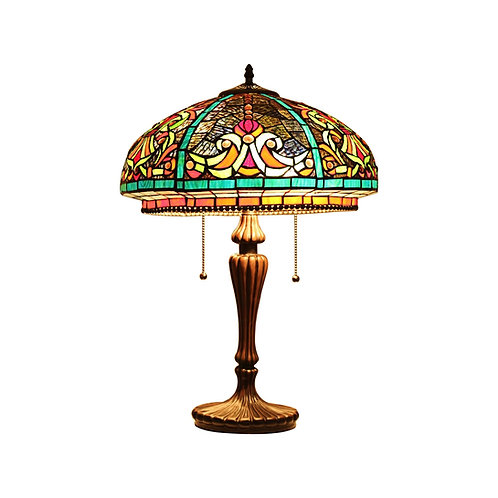"""Tiffany-Style Victorian Stained Glass Table Lamp 17"""" Width"""