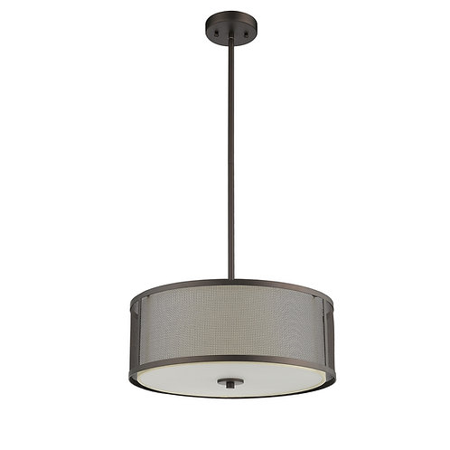 """Transitional 3 Light Rubbed Bronze Ceiling Pendant 16"""" Wide"""