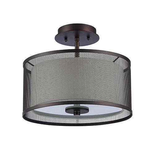 "Transitional 2 Light Rubbed Bronze Semi-flush Ceiling Fixture 13"" Wide"
