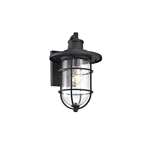 "Transitional 1 Light Textured Black Outdoor Wall Sconce 14"" Height"