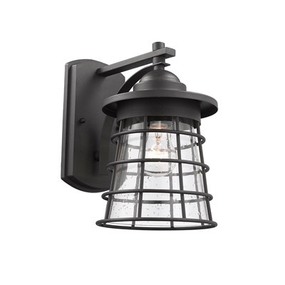 "Retro 1 Light Textured Black Outdoor Wall Sconce 11"" Tall"