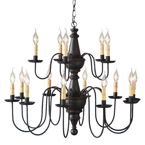 15-Arm Harrison Two Tier Wood Chandelier in choice of Finish