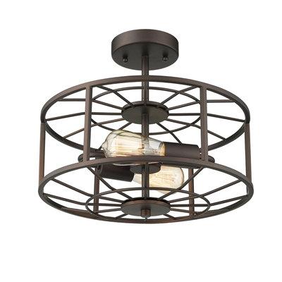 Industrial 2 Light Rubbed Bronze Semi-flush Ceiling Fixture