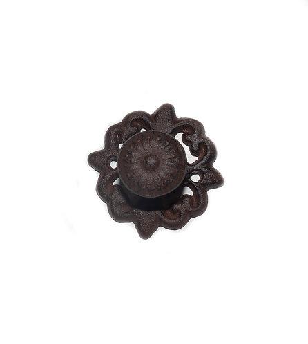 Fancy Antique Brown/Black Round Drawer Knob w Backplate