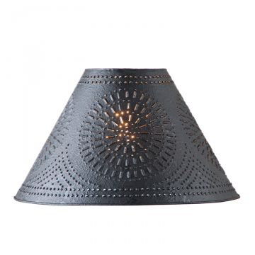 12'' ,15'' ,17'' Flared Punched Tin Lamp Shade with Chisel in Textured Black, Ha