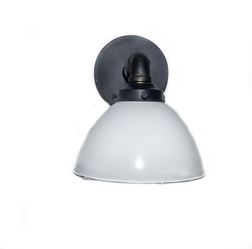 Retro  Industrial Iron Wall Sconce , White Porcelain shade