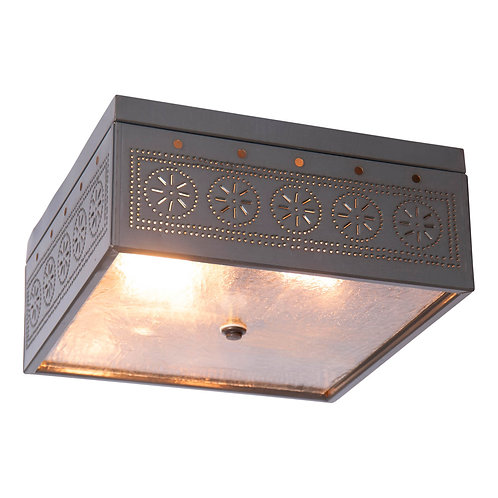 Square Flush Mount Ceiling Light  Punched Tin