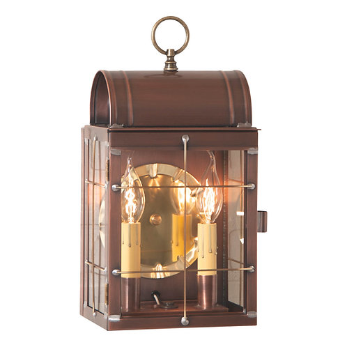 Toll House Wall Lantern in Weathered Brass or Copper