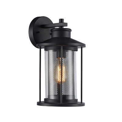 "Transitional Black 1 Light Outdoor Wall Sconce 11"" Tall"