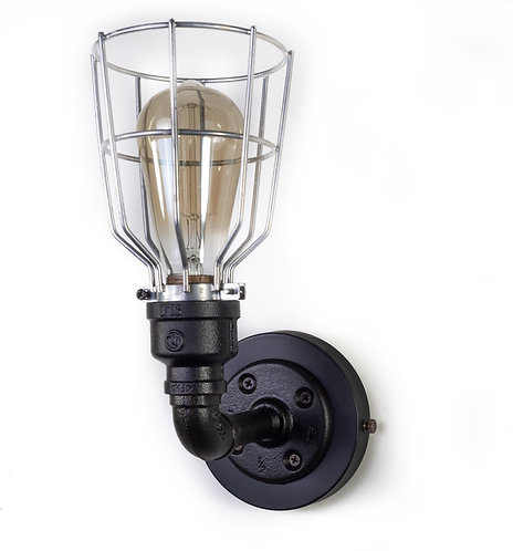 Black iron Vintage Style  Industrial Sconce with bulb cage