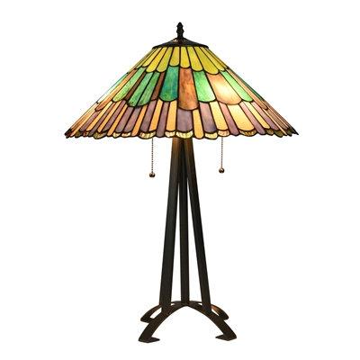 "Tiffany-style 3 Light Geometric Table Lamp 20"" Shade"