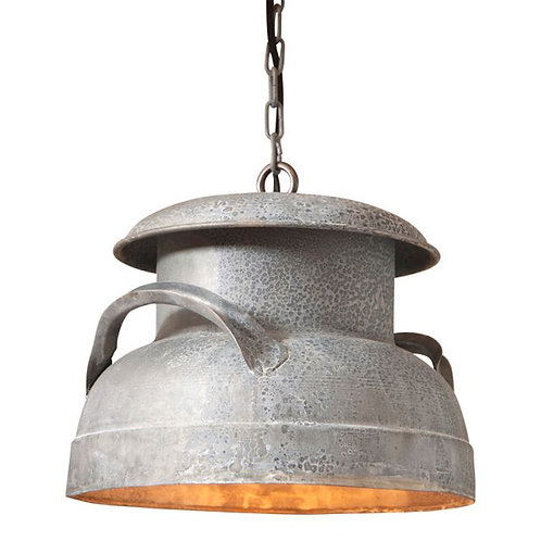 Farmhouse Milk Can Pendant in Weathered Zinc