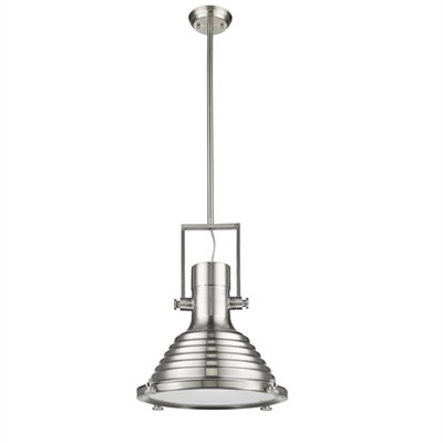 """Industrial -style 1 Light Brushed Nickel Ceiling Mini Pendant 16"""" Shade"""