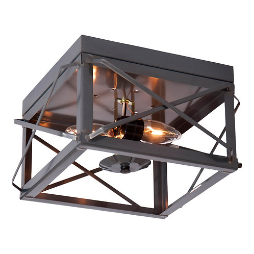 2 Light  Flush Mount Double Ceiling Light with Folded Bars in. Choice of Finish