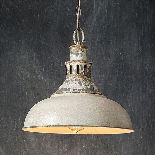Distressed Farmhouse  White  Pendant Light 14 ''