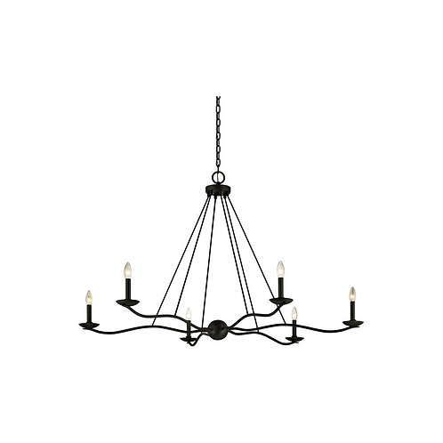 Large 6 Light Wrought iron Chandelier F6306