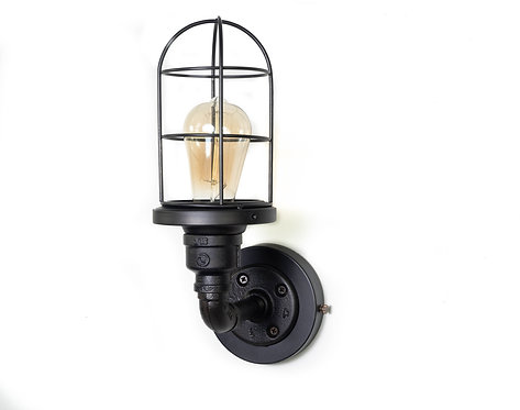Industrial Wall Sconce with Bulb Cage
