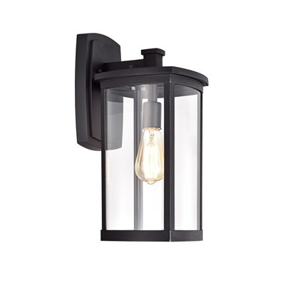 Transitional 1 Light Textured Black Outdoor Wall Sconce 3 Sizes
