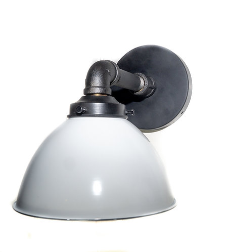 Industrial Iron Wall Sconce, White Porcelain Shade