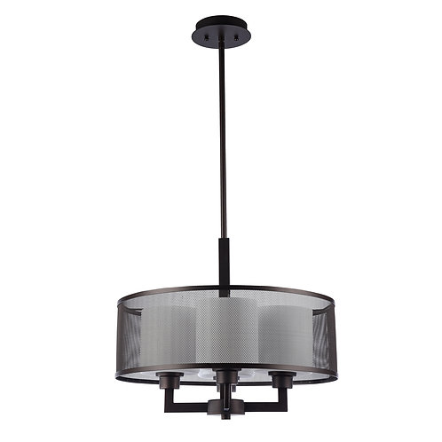 "Transitional 4 Light Rubbed Bronze Ceiling Pendant 19"" Wide"