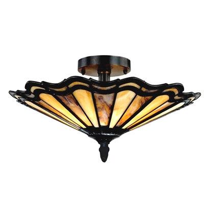 "Tiffany-style 2 Light Semi-flush Ceiling Fixture 16"" Shade"