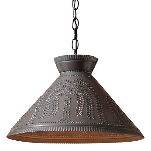 16 ''Roosevelt Pendant with Chisel or Willow pattern  in Kettle Black