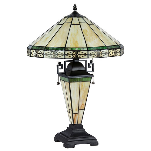 """Tiffany-style 3 Light Mission Double Lit Table Lamp 16"""" Shade"""