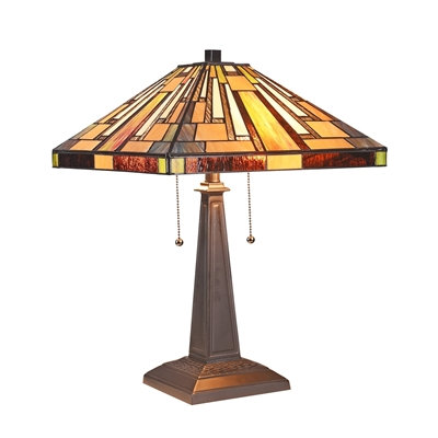 """Mission 2 Light Blackish Bronze Table Lamp 16"""" Wide"""