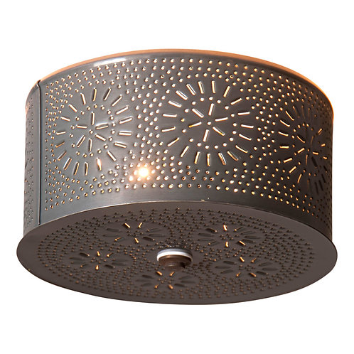 2 Light Flush Mount Round Ceiling Light with Chisel in Country Tin