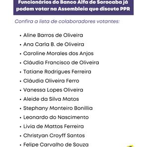 Funcionários do Banco Alfa de Sorocaba já podem votar na Assembleia que discute PPR
