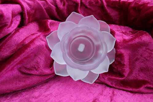 bougeoir fleur de lotus blanc