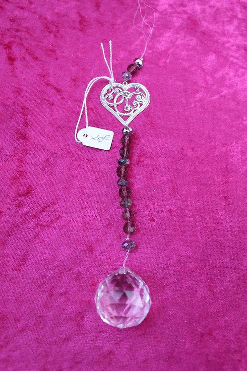 pendentif coeur et boule de cristal facété