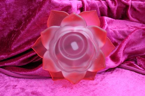 bougeoir fleur de lotus rouge