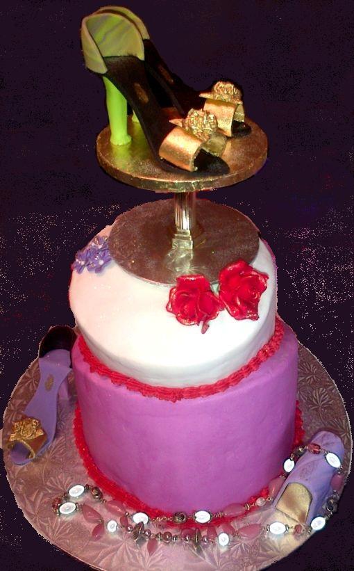 Ladies Mothers Birthday Cake Fondant High Heel Shoes Roses Purse