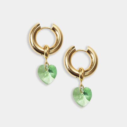 Green Heart Crystal Hoops