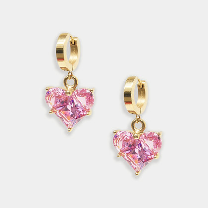 Heart of Glass Hoops – Rose Pink